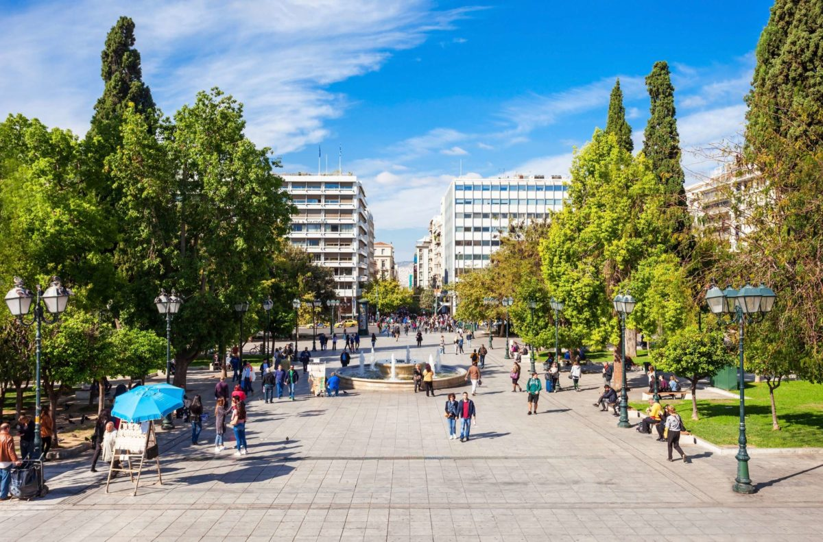 People walking Syntagma Square in Athens