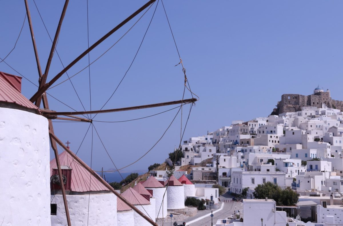 View of Astypalaia's main village in the early evening