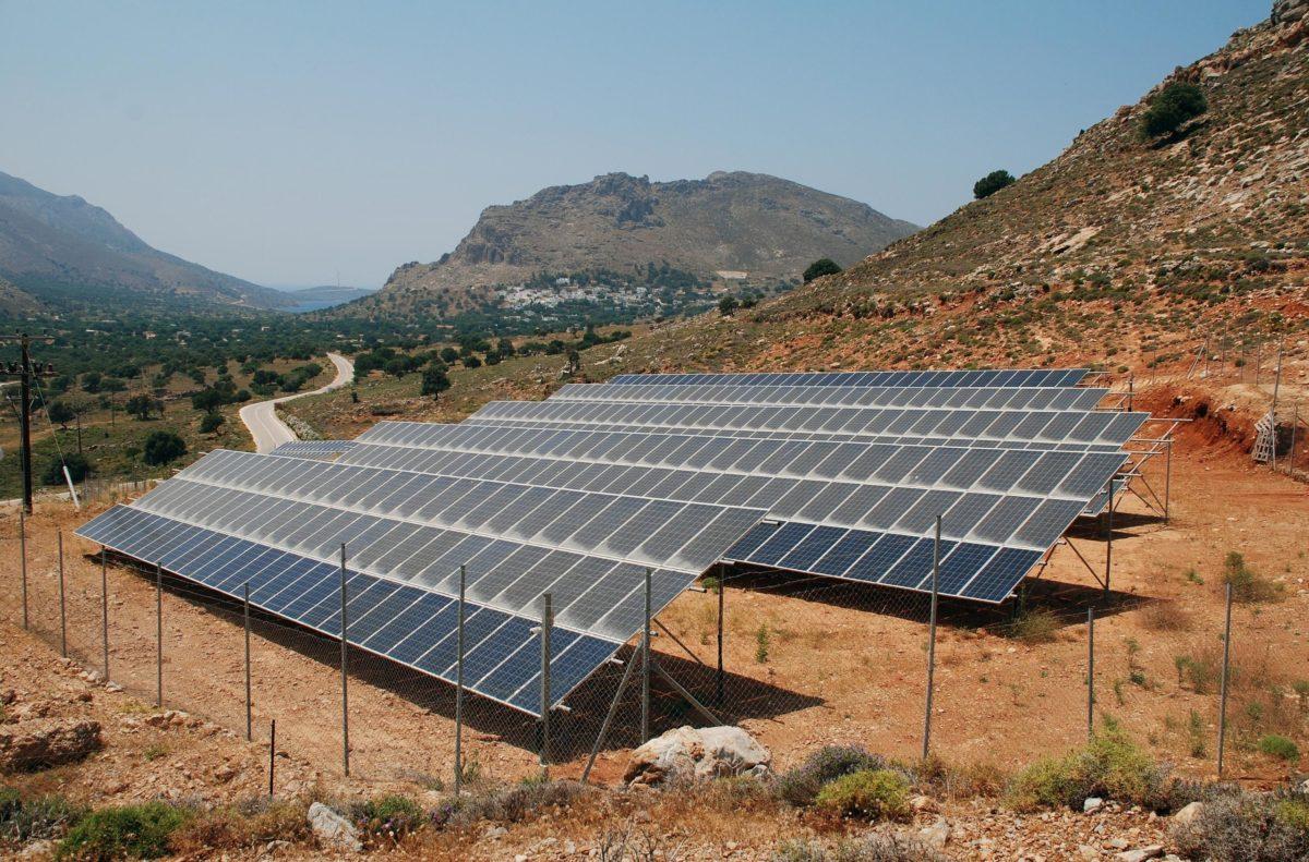 Solar panels on Tilos island